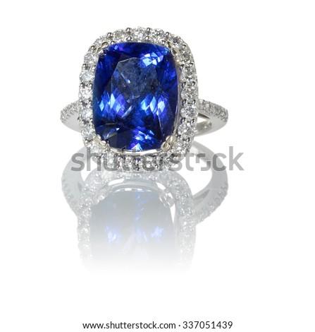 Sapphire and Diamond Ring - stock photo