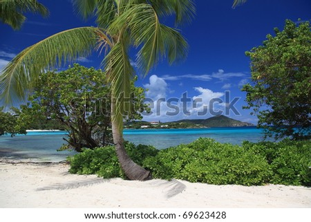 Sapphire beach on the island of St Thomas - stock photo