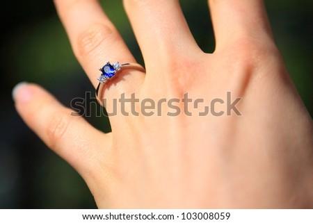 Sapphire Engagement Ring - stock photo