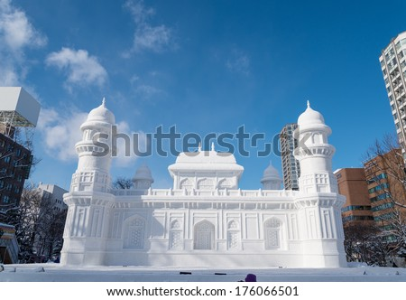 SAPPORO, JAPAN - FEB. 6 : Snow sculpture of I'timad-ud-Daulah at Sapporo Snow Festival site on February 6, 2014 in Sapporo, Hokkaido, japan. The Festival is held annually at Sapporo Odori Park. - stock photo