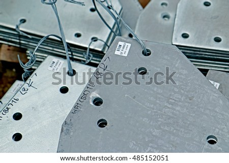 SARABURI-THAILAND-APRIL 8 : Packing of hot-dip galvanized steel member for steel tower in Transmission line at warehouse on April 8, 2015 Saraburi Province, Thailand