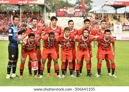 SARABURI THAILAND-AUGUST 15:Players of Saraburi Fc shot photo during Thai Premier League between Saraburi Fc and Sisaket F.C. at Saraburi Stadium on August 15,2015 in Saraburi Thailand - stock photo