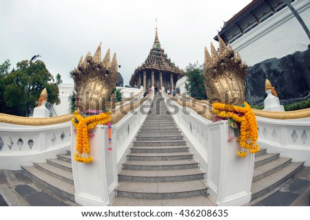 SARABURI,THAILAND-AUGUST 2,2012 : Scenic of Pagoda in Wat Phrabuddhabat Woramahavihan temple in the Tak Bat Dok Mai (give flowers to monk) Ceremony ,Saraburi Province,Middle of Thailand.