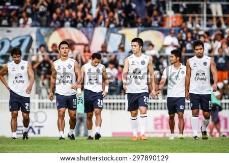 SARABURI THAILAND- JULY18:Players of Buriram United in action during Thai Premier League between Saraburi Fc and Buriram United at Saraburi Stadium on July18,2015 in Saraburi Thailand - stock photo