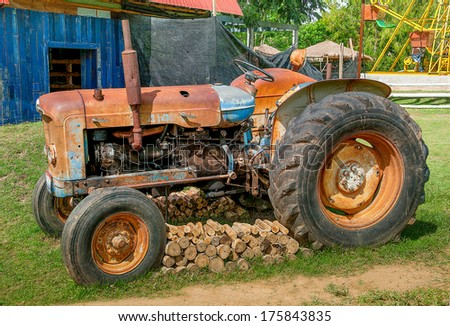 Saraburi,Thailand - june 23, 2012: Old tractor for plantation in Farm , Thailand.