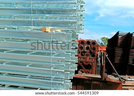 SARABURI-THAILAND-OCTOBER 15 : Hot-dip galvanized steel angles bunch on the rack in warehouse before shipment on October 15, 2015, Saraburi Province, Thailand