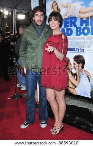 "Sarah Lancaster & Zachary Levi at the Los Angeles premiere of ""Over Her Dead Body"" at the Arclight Theatre, Hollywood. January 29, 2008  Los Angeles, CA Picture: Paul Smith / Featureflash - stock photo"