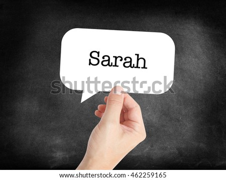 Sarah written in a speechbubble
