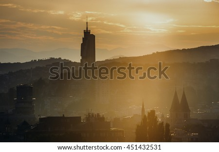 Sarajevo, Bosnia and Herzegovina - August 24, 2015. Evening view of Sarajevo with modern building called Avaz Twist Tower