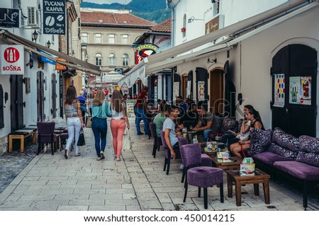 Sarajevo, Bosnia and Herzegovina - August 23, 2015. One of the streets at old bazaar and the historical and cultural center of the Sarajevo called Bascarsija
