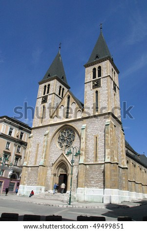 Sarajevo cathedral - stock photo