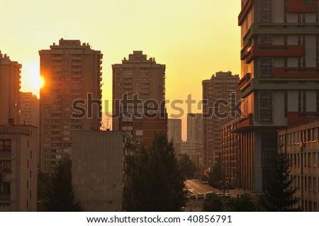 sarajevo cityscape urban scene at sunrise - stock photo
