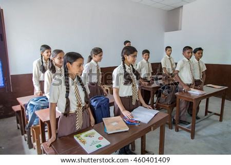 SARANATH,INDIA-JULY 19, 2016.:The unidentified Indian students at the class room in Thai Saranath school on July 19,2016 in Pelling,India.