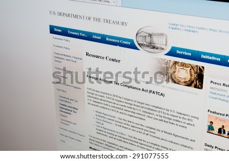 SARANSK, RUSSIA - JUNE 27, 2015: A computer screen shows details of U.S. Department of the Treasury, Foreign Account Tax Compliance Act page on its web site.