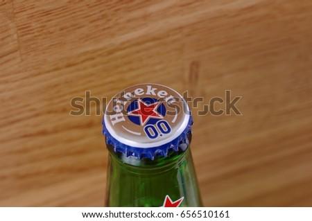 SARANSK, RUSSIA - JUNE 07, 2017: Non-alcoholic version of Heineken 0.0 beer.