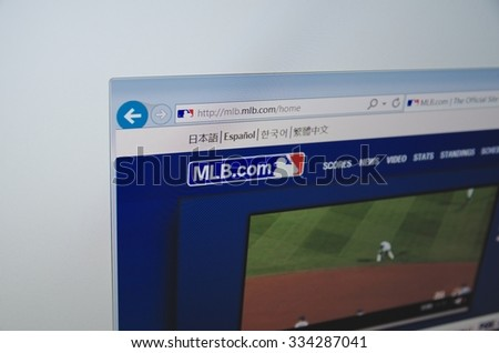 Saransk, Russia - November 01, 2015: A computer screen shows details of Major League Baseball main page on its web site in Saransk, Russia, on November 01 2015. Selective focus.