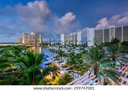Sarasota, Florida, USA marina and resorts skyline. - stock photo