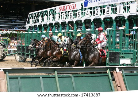 SARATOGA SPRINGS - August 22: The Field Breaks from the Gate to Start the First race August 22, 2008 in Saratoga Springs, NY. - stock photo