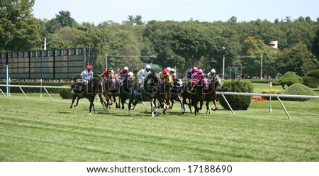 SARATOGA SPRINGS - August 23:  The Field heads down the Stretch the First Time in the Fourth Race on Travers Day August 23, 2008 in Saratoga Springs, NY.