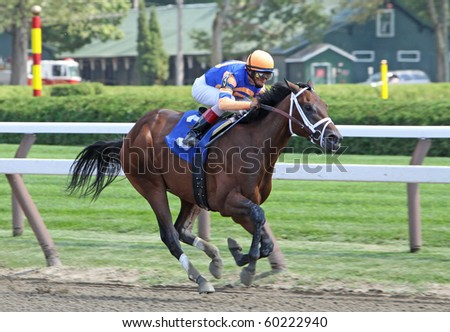 SARATOGA SPRINGS, NY- AUG 28 :John Velazquez pilots 2-year-old colt Uncle Mo to his first win at Saratoga Race Course on Aug 28, 2010 in Saratoga Springs, NY.
