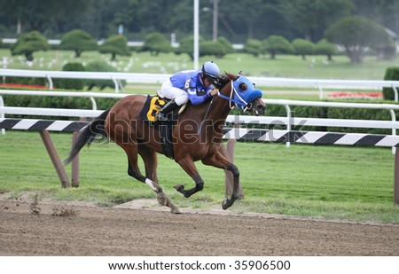 "SARATOGA SPRINGS, NY- AUGUST 24: Michael Luzzi aboard ""Tuscana"" Leads in the stretch of the 2nd race at Saratoga Race Track, August 24, 2009 in Saratoga Springs, NY."