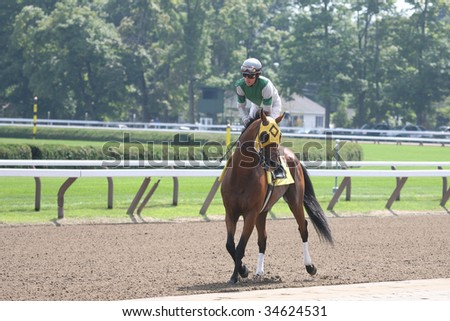 SARATOGA SPRINGS, NY- AUGUST 1: Richard Migliori aboard Darboy in the post parade for the 5th race at Saratoga Race Track - August 1, 2009 in Saratoga Springs, NY. - stock photo