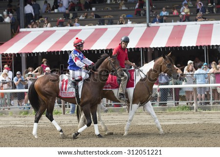 SARATOGA SPRINGS, NY - August 29, 2015: Runhappy in the Post Parade for the King's Bishop Stakes on Travers Day at Historic Saratoga Race Course on August 29, 2015 Saratoga Springs, New York - stock photo