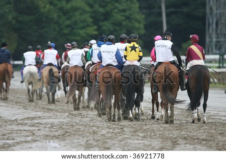 SARATOGA SPRINGS, NY- AUGUST 29: The field in the post parade for the Kings Bishop Stakes at Saratoga Race Track, August 29, 2009 in Saratoga Springs, NY.