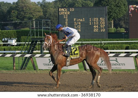 """SARATOGA SPRINGS, NY- SEPT 7: Jamie Theriot aboard """"Dublin"""" returns to the winners circle after the Grade I Hopeful Stakes at Saratoga Race Track, September 7, 2009 in Saratoga Springs, NY. - stock photo"""