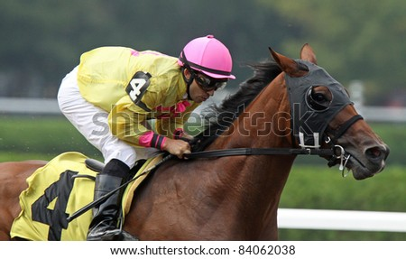 "SARATOGA SPRINGS, NY -SEPT 3: Jockey Jeremy Rose pilots ""SouthbeachSandy"" to victory in an allowance race at Saratoga Race Course on Sept 4, 2011 in Saratoga Springs, NY. - stock photo"