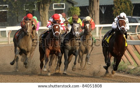 "SARATOGA SPRINGS, NY - SEPT 3: Ramon Dominguez (red & white stripes) pilots filly ""Havre de Grace"" to victory in the Woodward Stakes at Saratoga Race Course on Sept 3, 2011 in Saratoga Springs, NY. - stock photo"