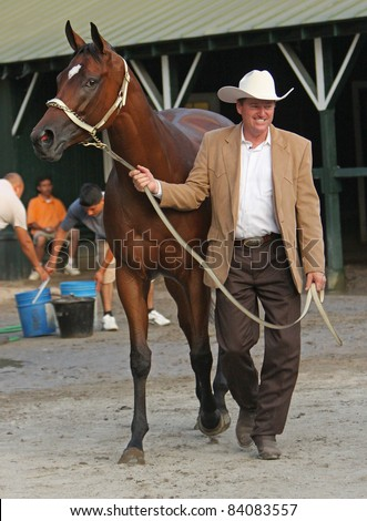 SARATOGA SPRINGS, NY -SEPT 3: Trainer Larry Jones leads Havre de Grace back to her stall after the star filly wins the Woodward Stakes at Saratoga Race Course on Sept 4, 2011 in Saratoga Springs, NY. - stock photo