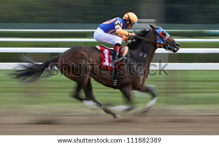 "SARATOGA SPRINGS - SEPT 1: Jockey Joel Rosario pilots ""Isthmus"" to a 2nd place finish in an allowance race  at Saratoga Race Course on September 1, 2012 in Saratoga Springs, NY. - stock photo"