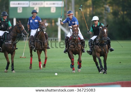 SARATOGA SPRINGS - SEPTEMBER 4 :  Shamrock and Bloomfield players in action during the 6th chukker at Saratoga Polo Club September 4, 2009 in Saratoga Springs, NY.