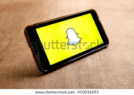 SARAWAK. MALAYSIA - APRIL 23,2016: Snapchat is popular a photo messaging application, released in September 2011. - stock photo