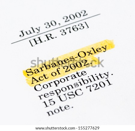 Sarbanes-Oxley Act of 2002, highlighted in the legal document