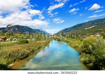 Sarca River - Trentino Italy / The Sarca River in the Sarca Valley, Trentino Alto Adige, Italy, Europe