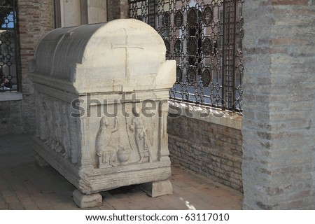 sarcophagus near the tomb of Dante in Ravenna - stock photo