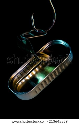 Sardine Tin.Empty can of sardines, photographed with lighting effects. - stock photo