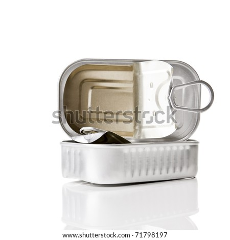 Sardine tin isolated over a  white background - stock photo