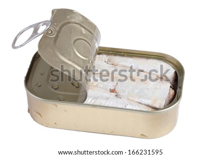 Sardines in can isolated on white. - stock photo