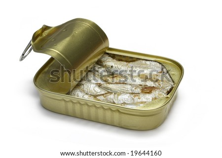 Sardines in open tin isolated on white with clipping path