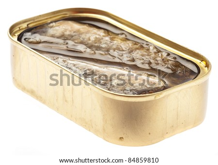 sardines in tin can on a white background
