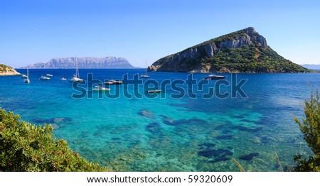 Sardinia: in front figarolo island, background tavolara island - stock photo