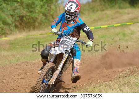SARIEGO, SPAIN - AUGUST 17: Legendary Sariego motocross test in August 17, 2015 in Sariego, Spain. Mickael Musquin rider with the number 85.