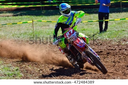 SARIEGO, SPAIN - AUGUST 22: Legendary Sariego motocross test in August 22, 2016 in Sariego, Spain. Oriol Mena rider with the number 87.