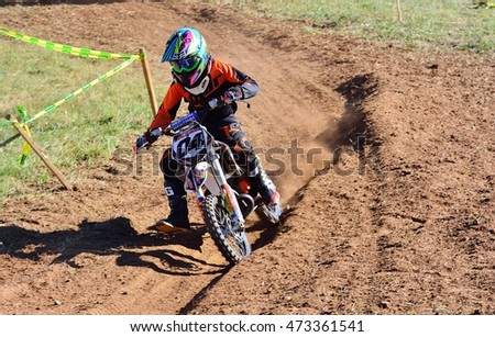 SARIEGO, SPAIN - AUGUST 22: Legendary Sariego motocross test in August 22, 2016 in Sariego, Spain. Hugo Fernandez rider with the number 04.