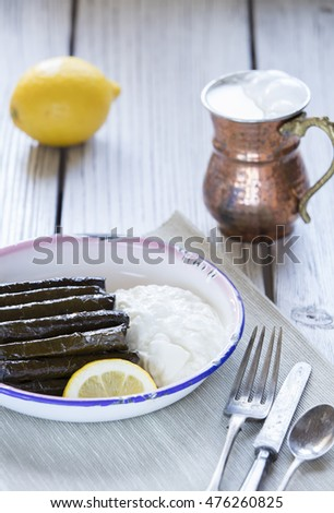 sarma dish- rice and mint wrapped in grape vine leaves