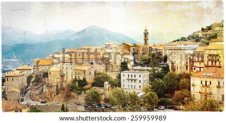 Sartene - impressive medieval hilltop village in Corsica, retro  - stock photo