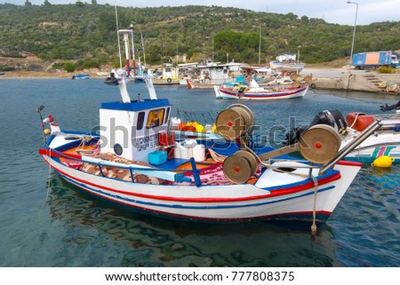 SARTI - NOV 15: Sea port with the small traditional Greek yachts and boats in Sarti on November 15. 2017 in Greece